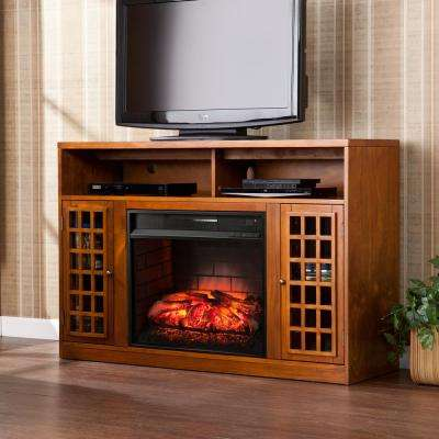 Alford 48 in W Media Stand Infrared Electric Fireplace in Glazed Pine