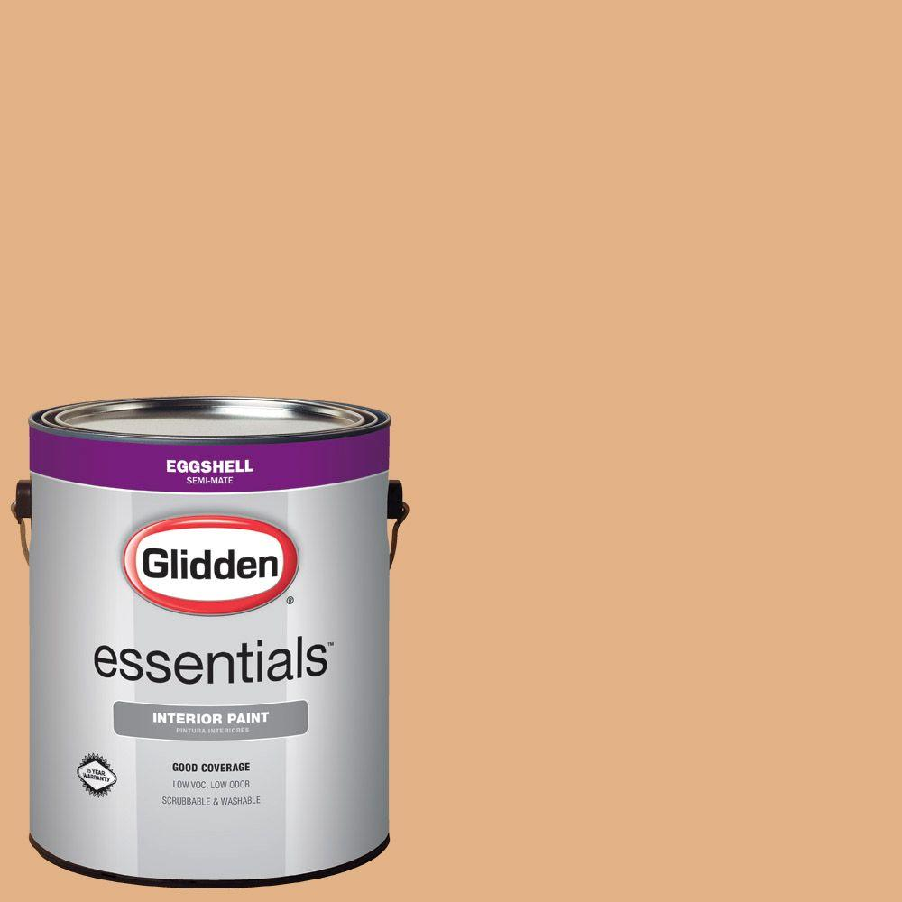 glidden essentials 1 gal hdgo45d peachwood eggshell interior paint hdgo45de 01en the home depot