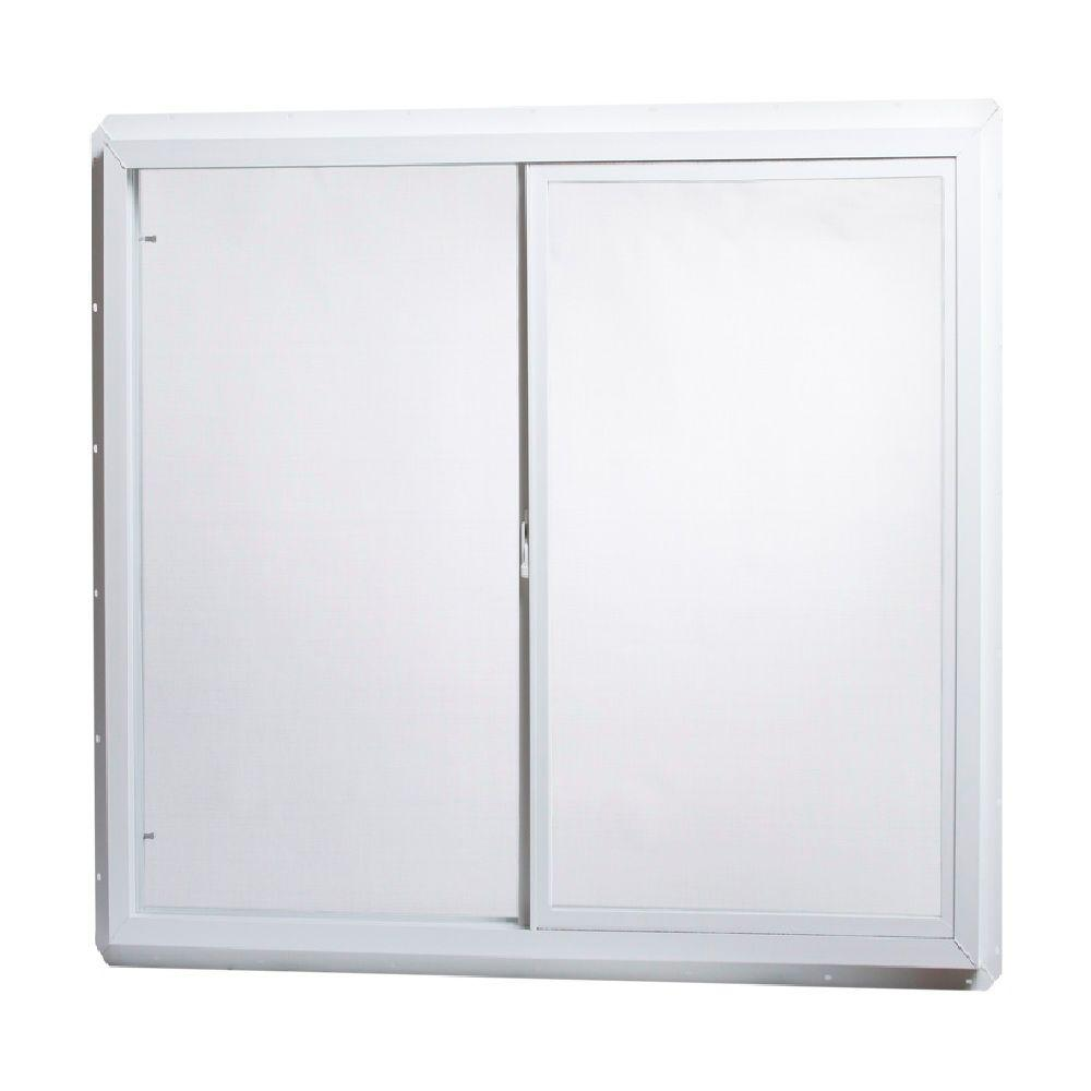 48 in. x 48 in. Utility Left-Hand Single Slider Vinyl Windows Single Glass and Screen - White