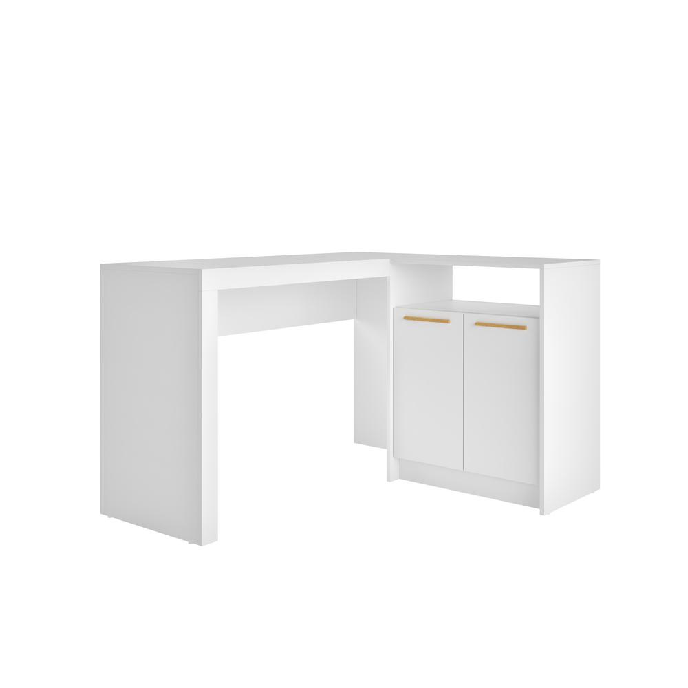 Genial Manhattan Comfort Kalmar White L Shaped Office Desk With Inclusive Cabinet