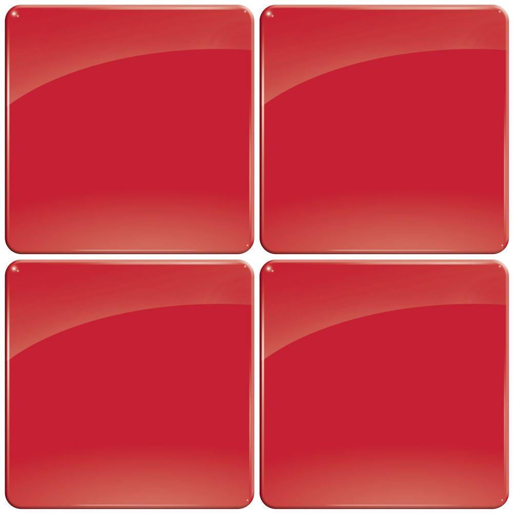Smart Tiles 3-11/16 in. x 3-11/16 in. Pomodoro with Round Corners Gel Tile Decorative Wall Tile (4-Pack)-DISCONTINUED