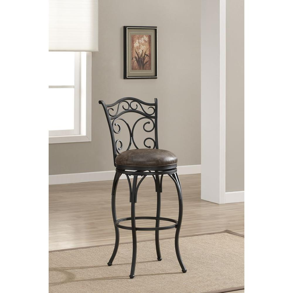 American Heritage Solana 26 In Graphite Cushioned Bar Stool