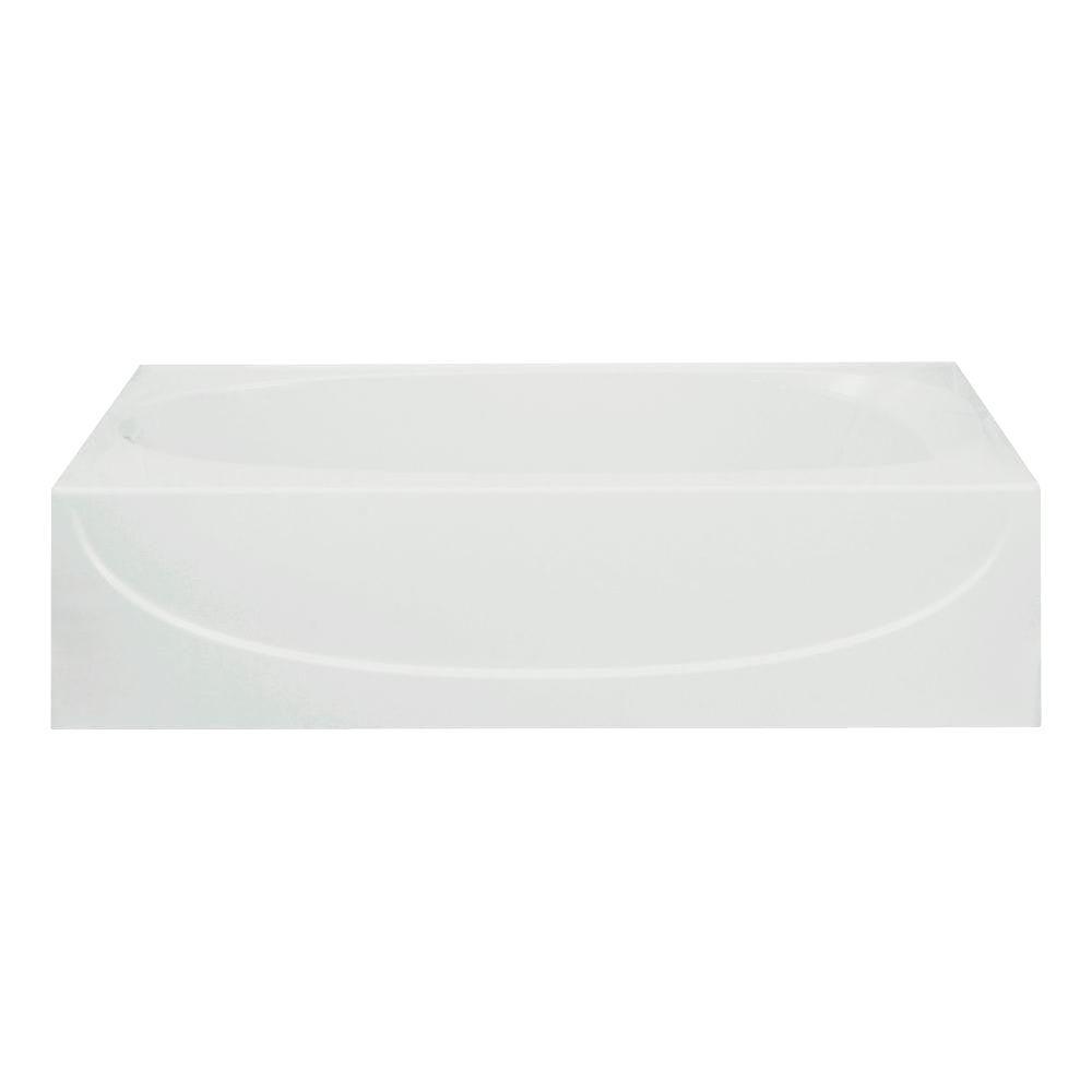 Acclaim 5 ft. Left Drain Rectangular Alcove Soaking Tub in White