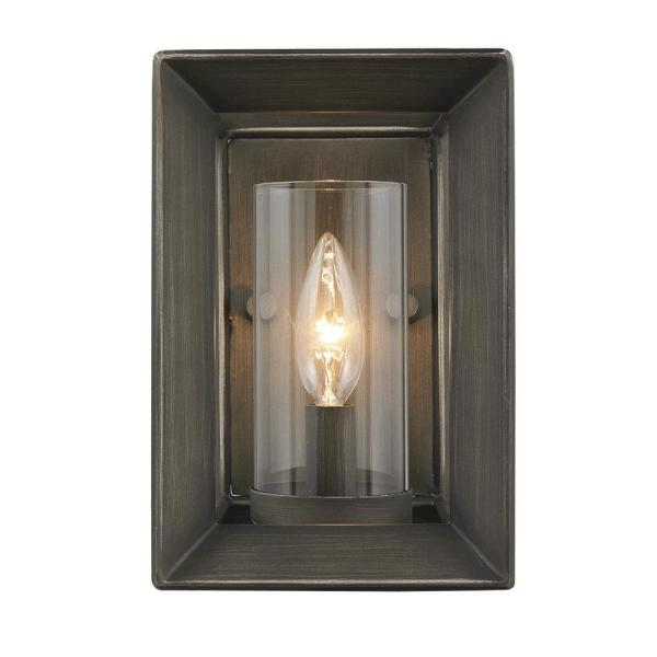 Smyth 1-Light Gunmetal Bronze with Clear Glass Wall Sconce