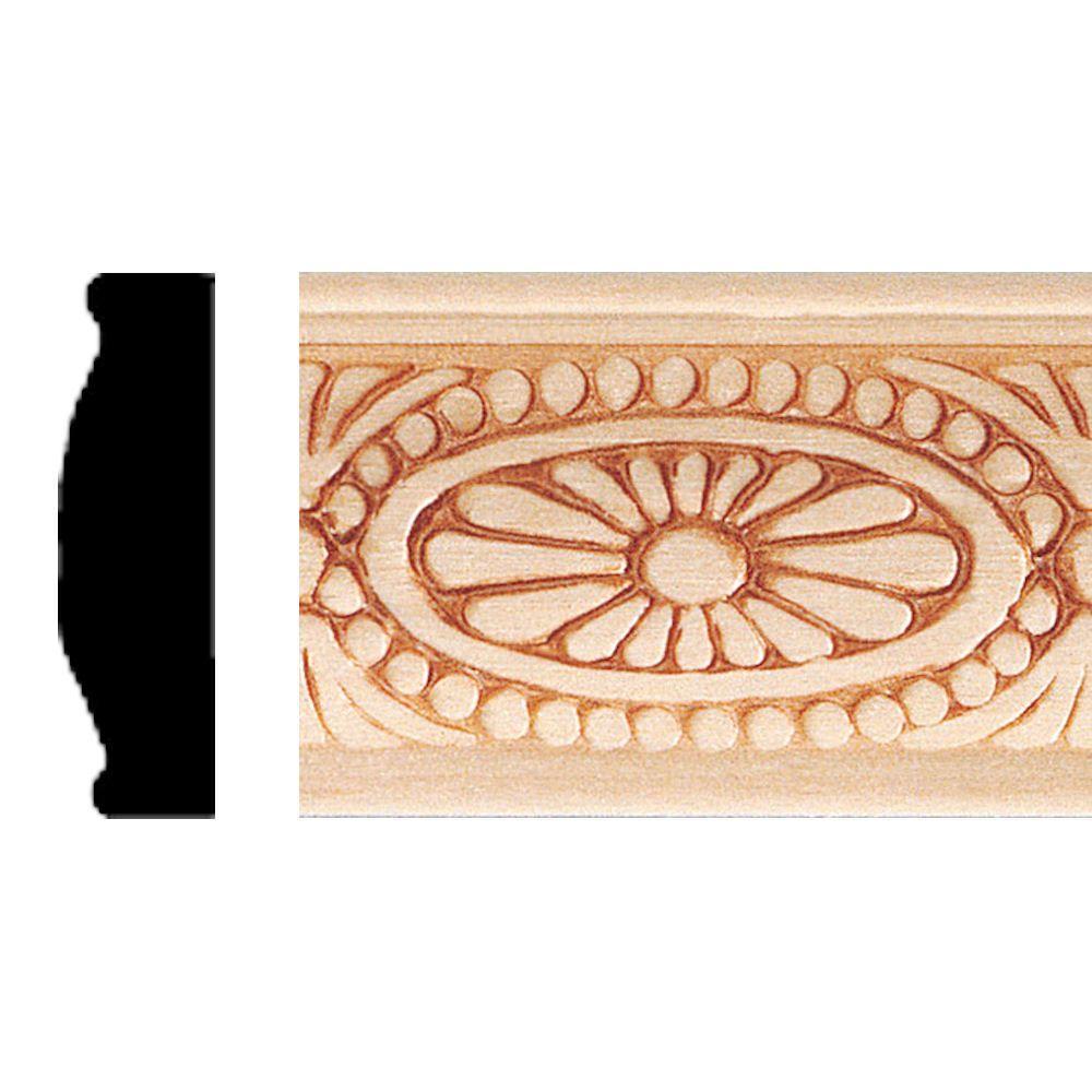3/8 in. x 1-5/16 in. x 8 ft. Hardwood Embossed Sunburst Panel Moulding