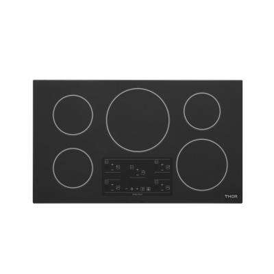 36 in.  Glass Induction Cooktop in Black with 5 Elements