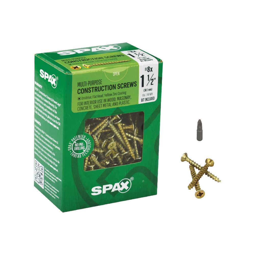 #8 x 1-1/2 in. Philips Square Drive Flat-Head Full Thread Yellow Zinc Coated Multi-Material Screw (197/Box)