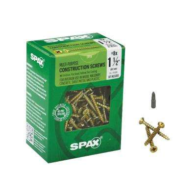 #8 x 1-1/2 in. Philips Square Drive Flat-Head Full Thread Yellow Zinc Coated Multi-Material Screw (197/Box)