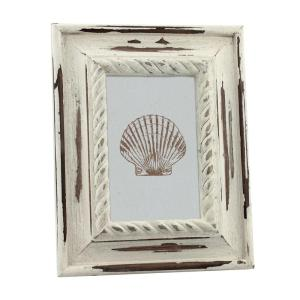 Stonebriar Collection 1-Opening 4 inch x 6 inch White Wood Coastal Picture Frame by Stonebriar Collection