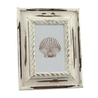 1-Opening 4 in. x 6 in. White Wood Coastal Picture Frame
