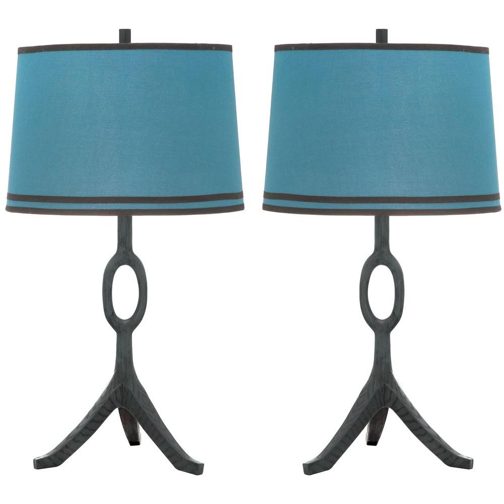 Safavieh Thom Filicia Packwood 33 in. Dusk Blue Table Lamp with Blue Shade (2-Set)
