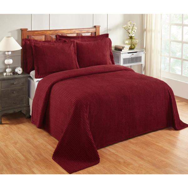Julian Collection in Solid Stripes Design Burgundy Queen 100% Cotton Tufted Chenille Bedspread