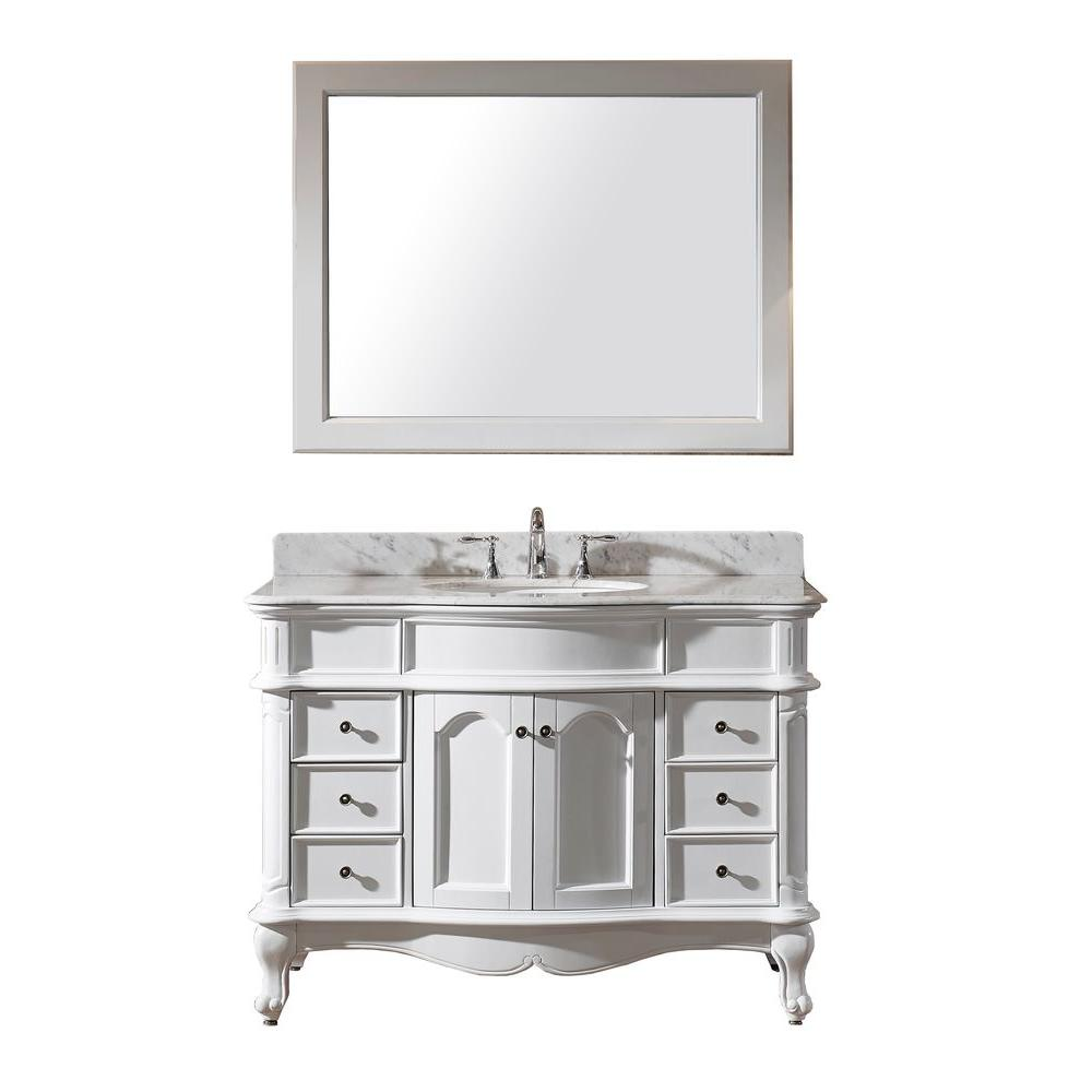 Virtu USA Norhaven 49 in. W Bath Vanity in White with Marble Vanity Top in White with Round Basin and Mirror