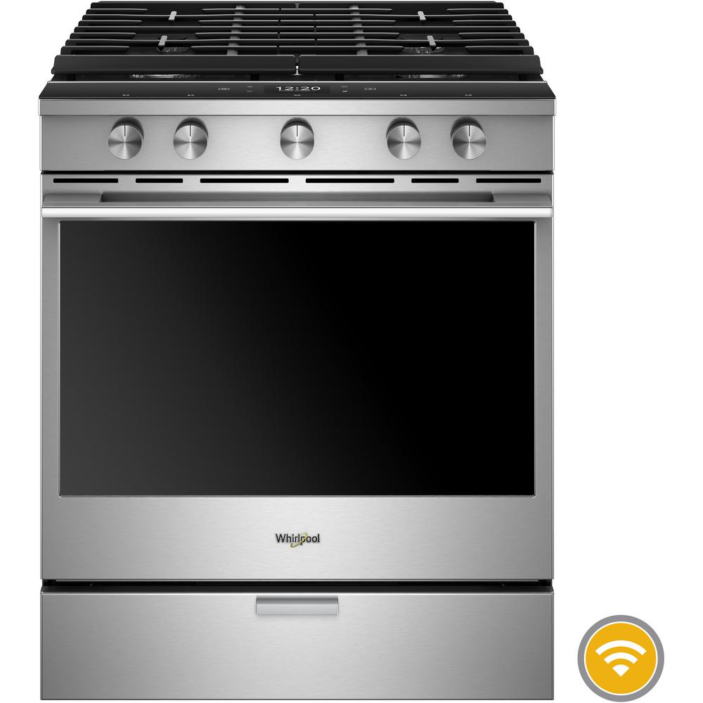Whirlpool 5.8 cu. ft. Smart Contemporary Handle Slide-in Gas Range with EZ-2-LIFT Hinged Cast-iron Grates in Stainless Steel