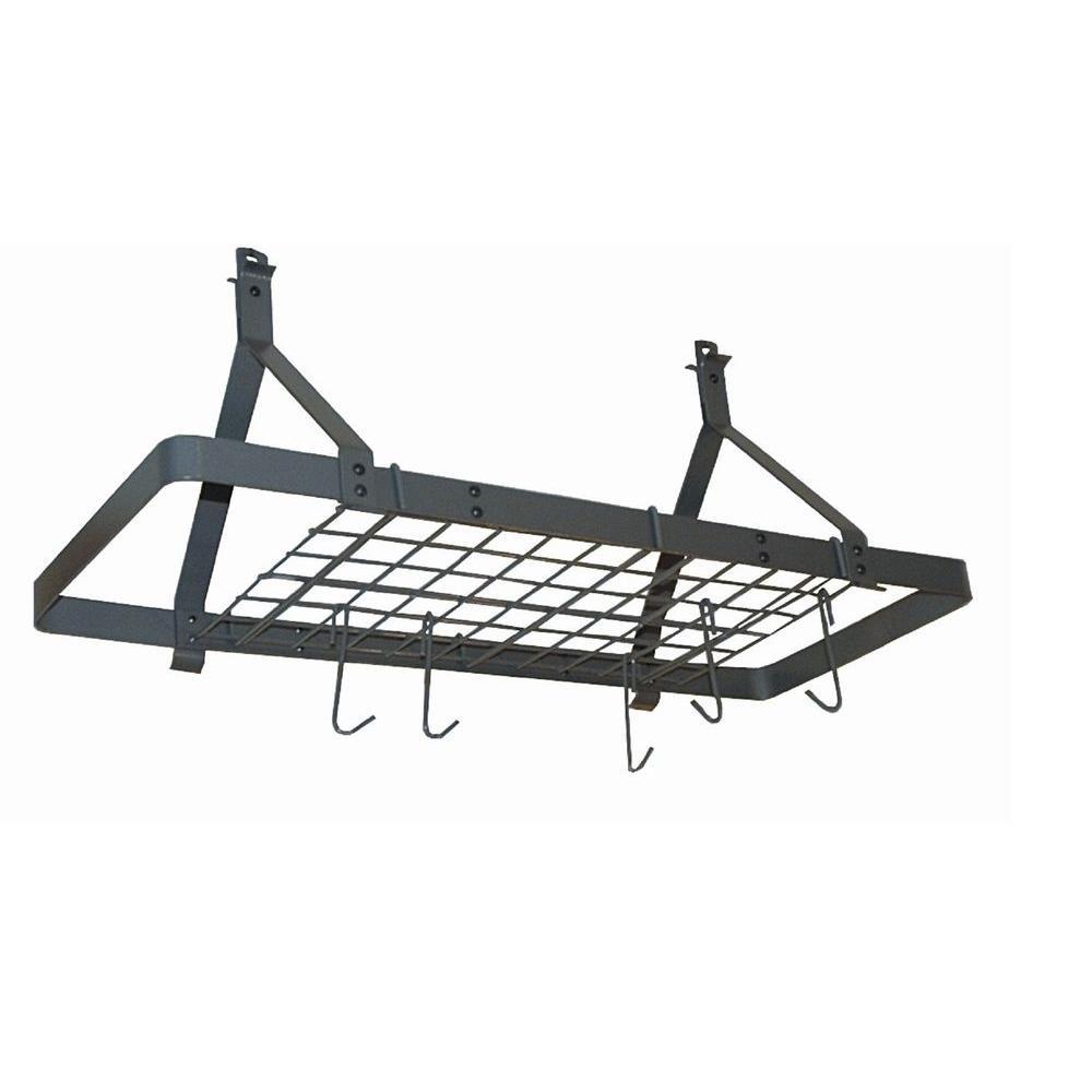 Rack It Up Rectangle Ceiling Pot Rack (Expandable) Steel Gray