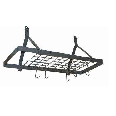 Rectangle Ceiling Rack with 12 Hooks Steel Gray Hammertone