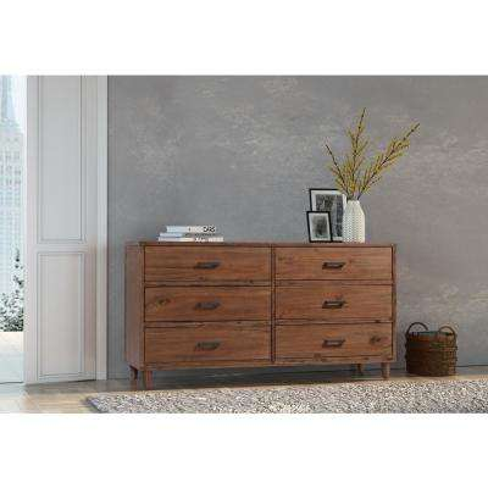Toluca 6-Drawer Jacobean Brown Dresser