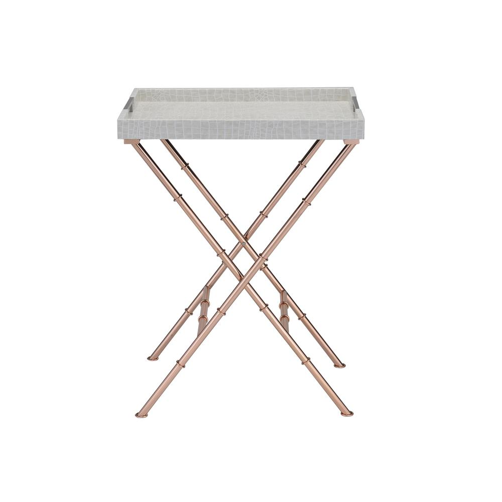 Acme Furniture Lajos Ivory Crocodile and Rose Gold Tray Side Table