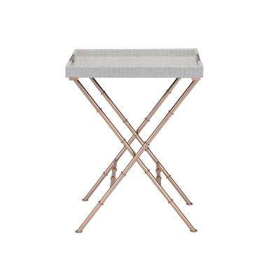 Lajos Ivory Crocodile and Rose Gold Tray Side Table