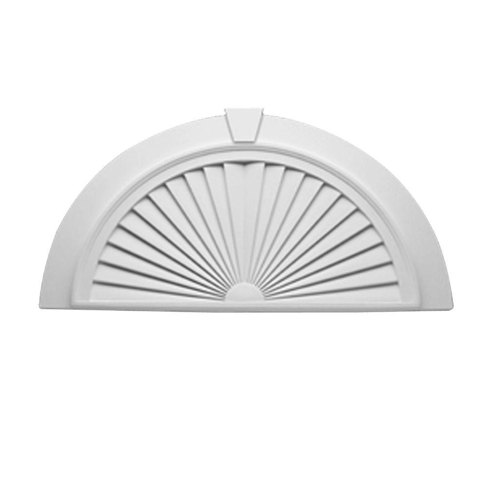Fypon 43 in. x 22-7/16 in. x 2-1/4 in. Polyurethane Half-Round Sunburst Pediment with Flat Trim and Keystone