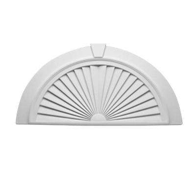 43 in. x 22-7/16 in. x 2-1/4 in. Polyurethane Half-Round Sunburst Pediment with Flat Trim and Keystone