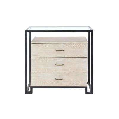 3-Drawer Light Brown Wooden Chest with Glass Top