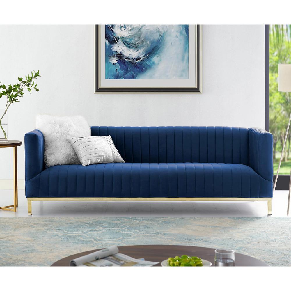 Daniel Navy/Glold Velvet Sofa with Tuxedo