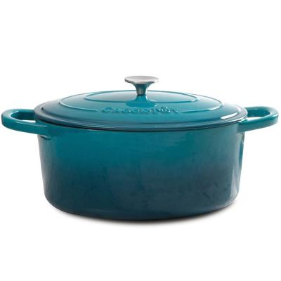 Artisan 7 qt. Oval Cast Iron Nonstick Dutch Oven in Teal Ombre with Lid