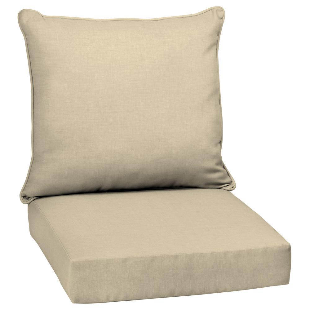 24 x 24 New Tan Leala Texture 2-Piece Deep Seating Outdoor Lounge Chair Cushion