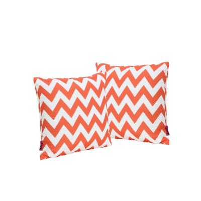 Marisol Orange and White Chevron Square Outdoor Throw Pillow (2-Pack)