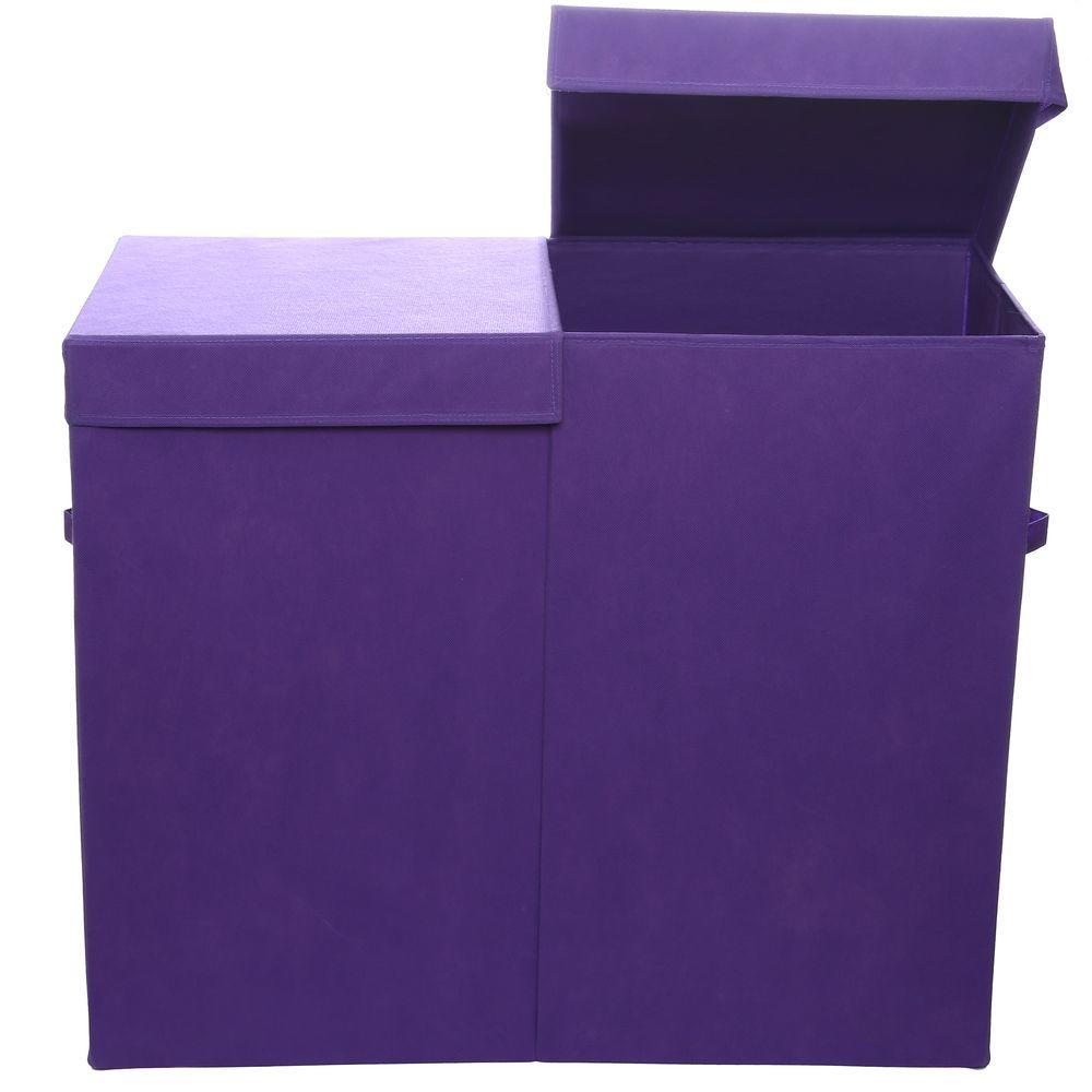 Color Pop Solid Purple Folding Double Laundry Basket