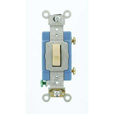 15 Amp Industrial Grade Heavy Duty Single-Pole Lighted Handle Toggle Switch, Ivory