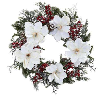 22 in. Snowed Magnolia and Berry Wreath