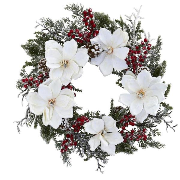 Nearly Natural 22 in. Snowed Magnolia and Berry Wreath 4186