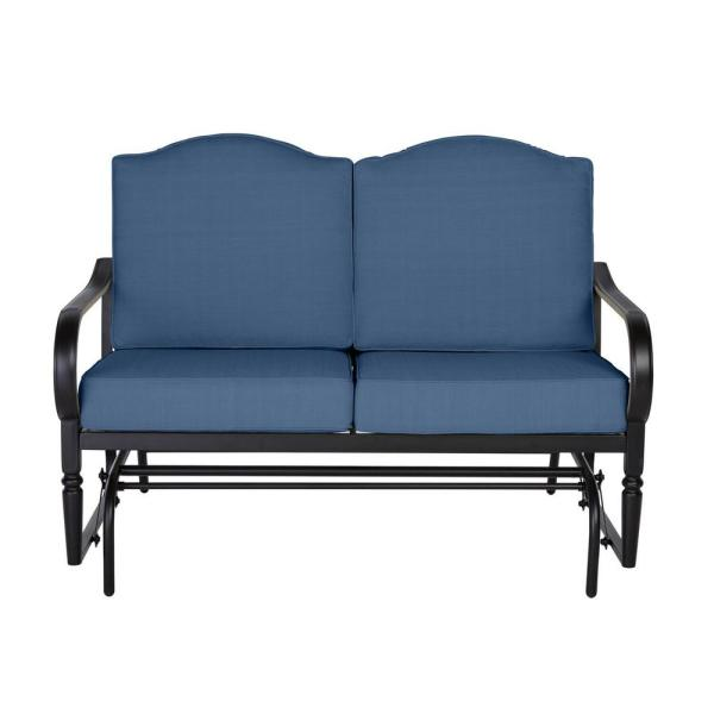 Laurel Oaks Dark Brown Steel Outdoor Patio Glider with CushionGuard Sky Blue Cushions