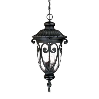 Naples Collection 3-Light Matte Black Outdoor Hanging Lantern Light Fixture
