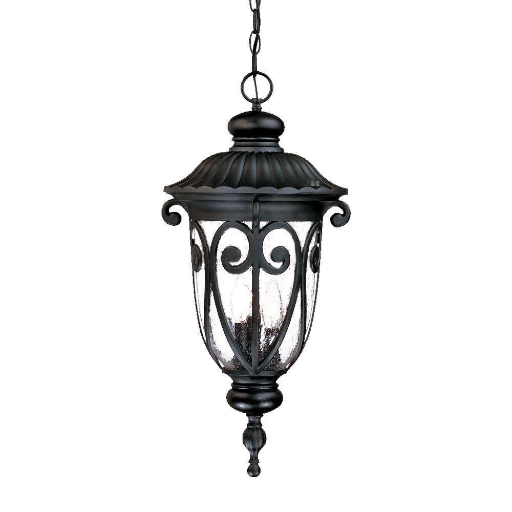 Naples Collection 3-Light Matte Black Outdoor Hanging Lantern Light Fixture