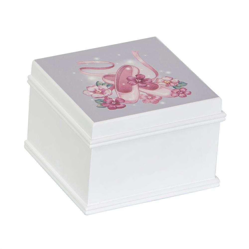 Surrey Girl's White Wooden Musical Ballerina Jewelry Box