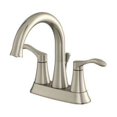 Sterling Collection 4 in. Centerset 2-Handle Bathroom Faucet with 50/50 Pop-Up in Brushed Nickel