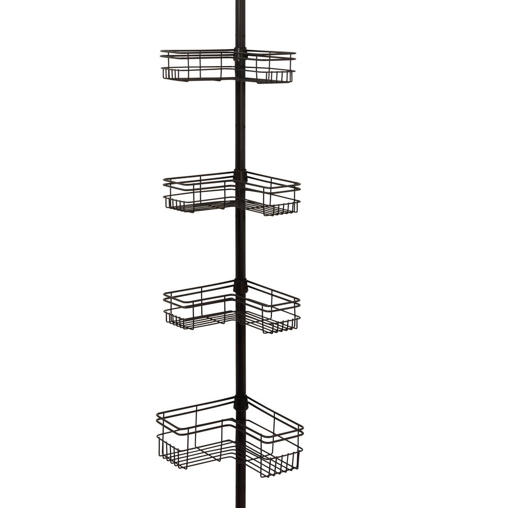 Glacier Bay L Style Tension Pole Shower Caddy in Bronze with 4-Shelves