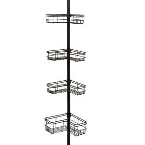 glacier bay l style tension pole shower caddy in bronze with 4 shelves 2130hbhd the home depot. Black Bedroom Furniture Sets. Home Design Ideas
