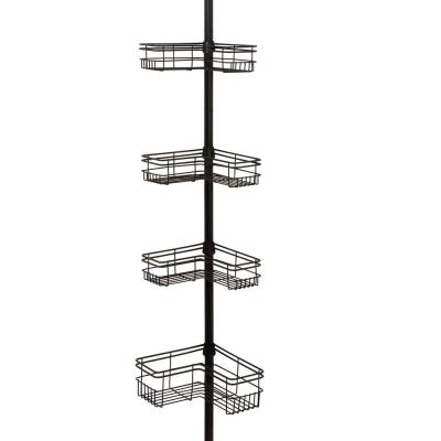 L Style Tension Pole Shower Caddy in Bronze with 4-Shelves