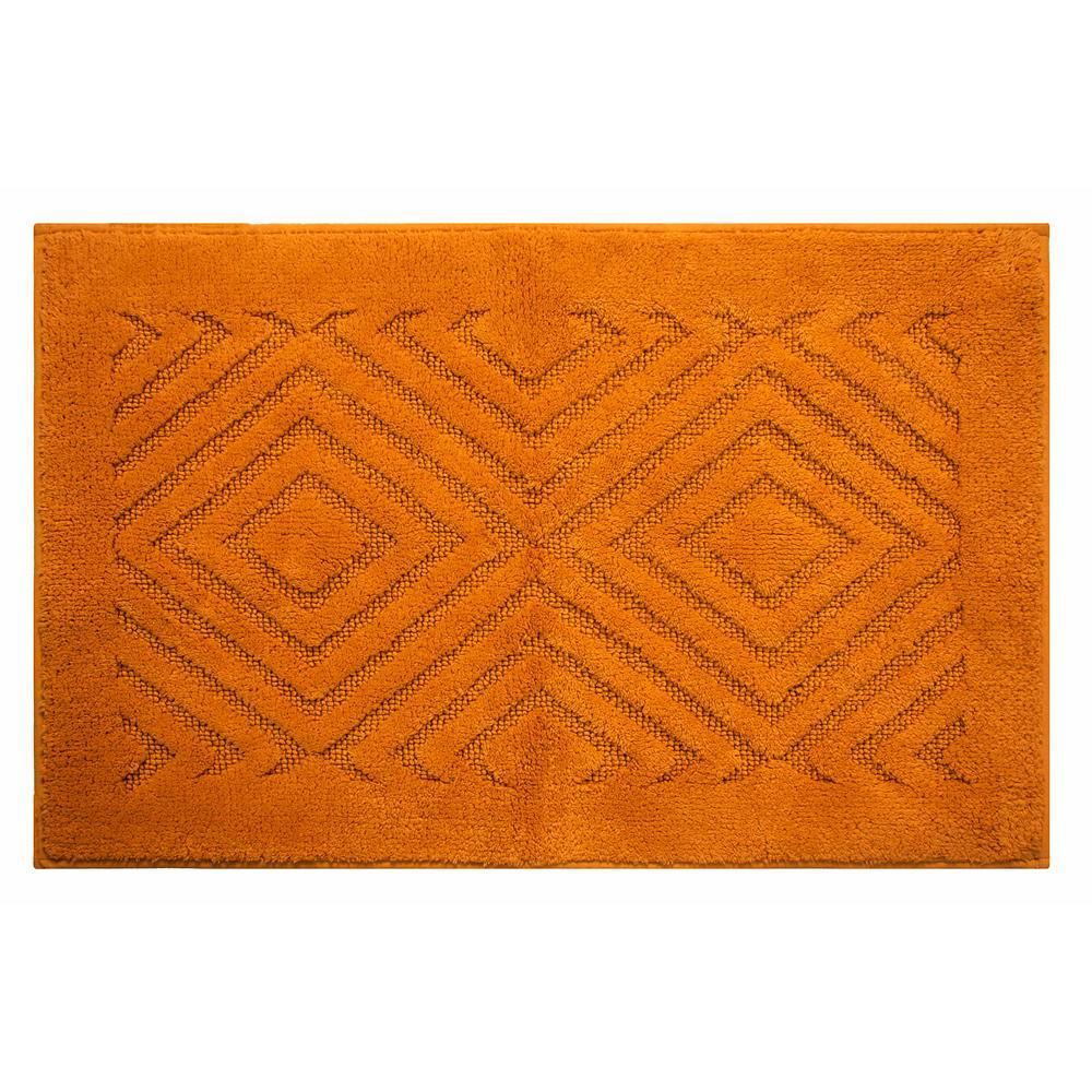 Trier Orange 20 In X 30 Cotton Bath Rug Set 2 Piece