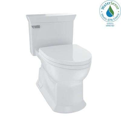 Eco Soiree 1-Piece 1.28 GPF Single Flush Elongated Skirted Toilet with CeFiONtect in Colonial White
