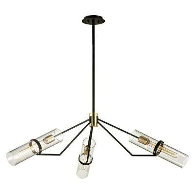 Raef 3-Light Textured Bronze 50 in. W Pendant with Clear Glass