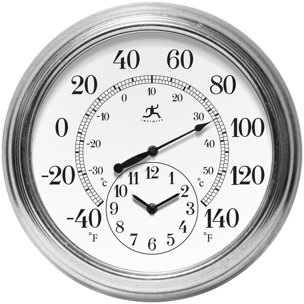 Infinity instruments prague 16 in w x 16 in l round outdoor wall infinity instruments prague 16 in w x 16 in l round outdoor wall clock 14665ga 3904 the home depot amipublicfo Images
