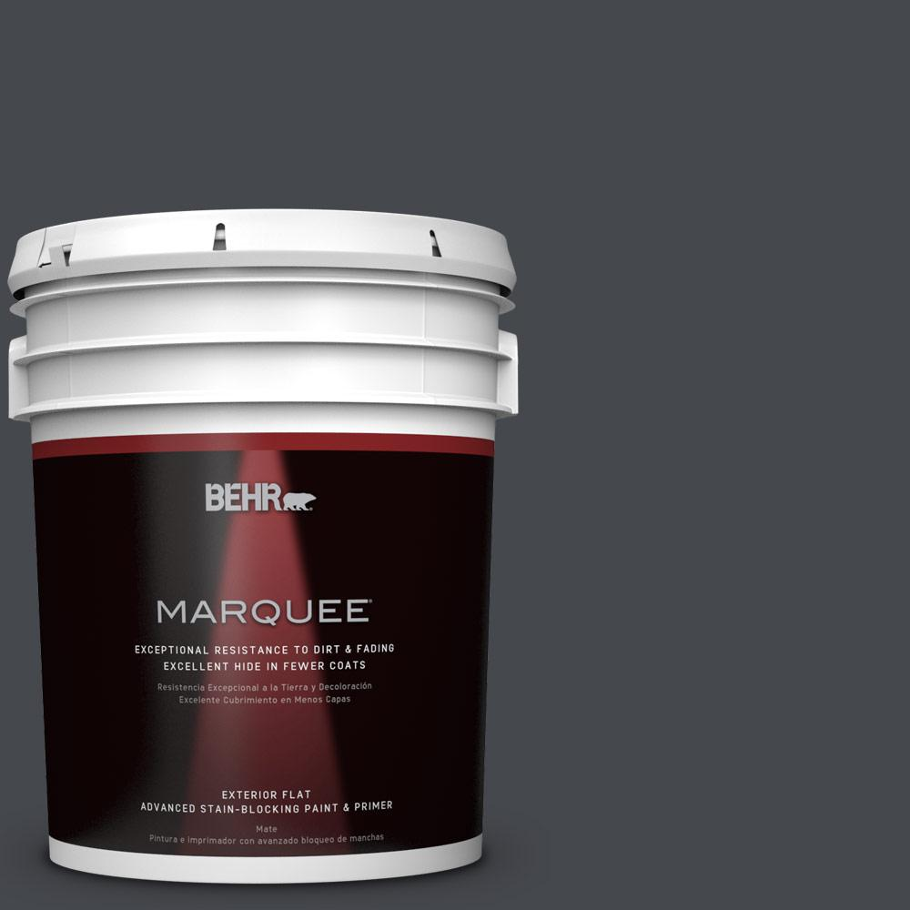 5-gal. #N490-7 Ink Black Flat Exterior Paint