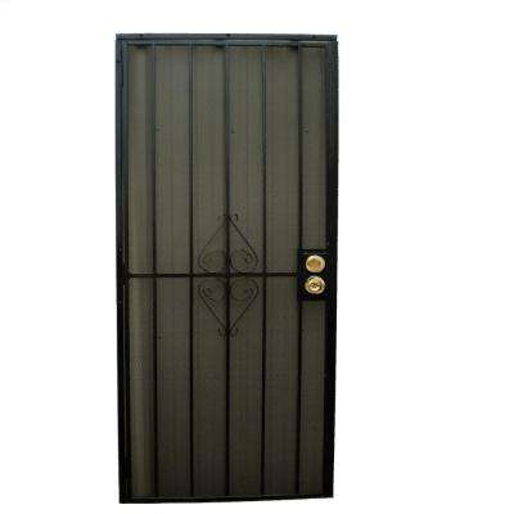 36 in. x 80 in. 808 Series Protector Black Surface Mount Steel Security Door with Expanded Steel Screen