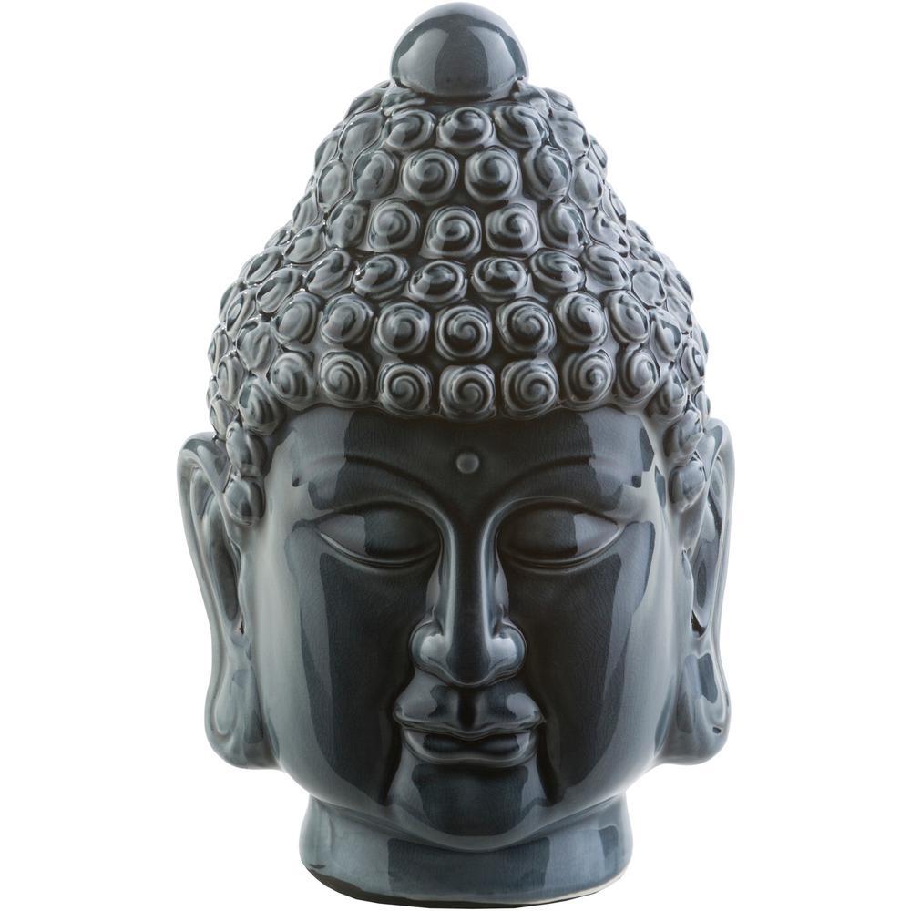 Devansh 8.7 in. x 13 in. Decorative Buddha Bust in Navy