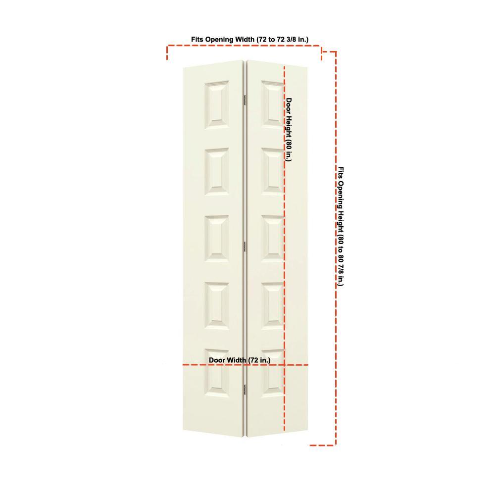 36 in. x 80 in. Rockport Vanilla Painted Smooth Molded Composite MDF Closet Bi-fold Double Door